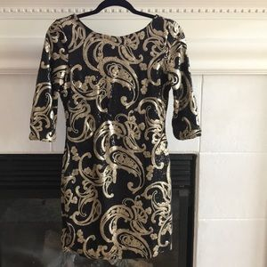 Black and gold sequin cocktail dress